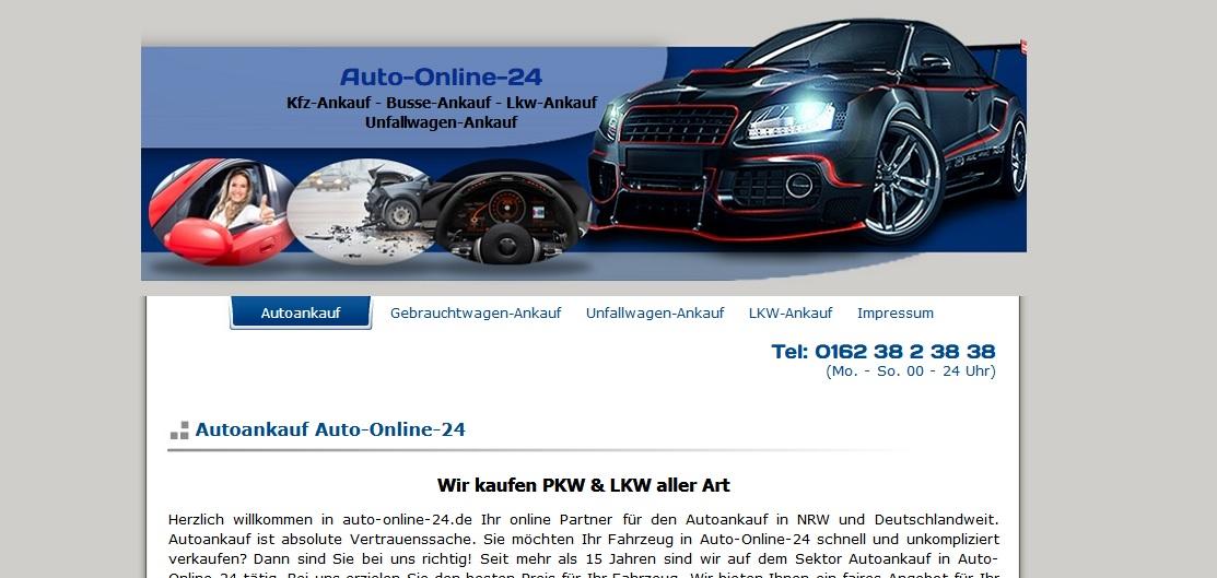 auto online24 webseite - Autoankauf Detmold - Wir kaufen Gebrauchtwagen und Unfallwagen